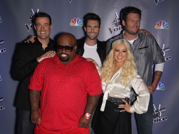Blake Shelton, Christina Aguilera, Adam Levine, Cee Lo Green and Carson Daly Photo