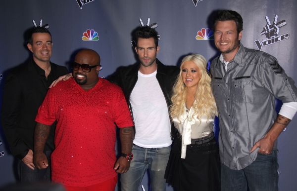 Oct. 28, 2011 - Culver City, California, U.S. - Blake Shelton, Christina Aguilera, Adam Levine, Cee Lo Green & Carson Daly arrives for the announcement of season 2 of 'The Voice' held at Sony Pictures. (Credit Image: © Lisa O'Connor/ZUMAPRESS.com) at Season 2 of THE VOICE Announced