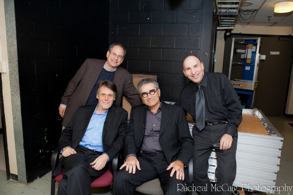 David Eisner, Ralph Benmergui, Eugene Levy and Avery Saltzman backstage at Conversations on the Green