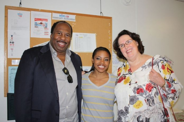 Leslie David Baker, Melody Mills, Phyllis Smith at Cast of THE OFFICE Visits BRING IT ON