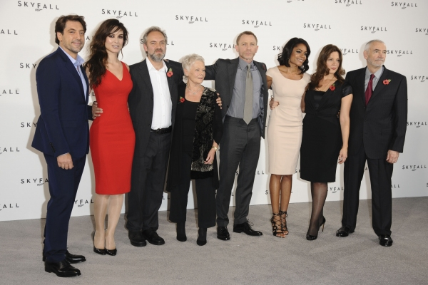 Javier Bardem, Berenice Marlohe, director Sam Mendes, Dame Judi Dench, Daniel Craig, Naomie Harris, Barbara Broccoli and Michael G. Wilson at Filming to Begin on James Bond Film SKYFALL