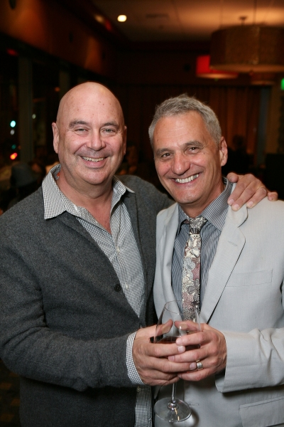 "LOS ANGELES, CA - NOVEMBER 6: Set Designer/Costume Designer Ken MacDonald (L) and Writer/Director Morris Panych (R) pose during the party for the opening night performance of ""Vigil"" at Center Theatre Group's Mark Taper Forum on November 6, 2011 in Los An"