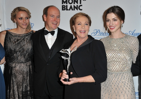 NEW YORK, NY - NOVEMBER 01:  Princess Charlene, T.S.H. Prince Albert II of Monaco, Julie Andrews and Anne Hathaway attend MONTBLANC Launches Collection Princesse Grace De Monaco at  the Princess Grace Awards Gala at Cipriani 42nd Street on November 1, 201