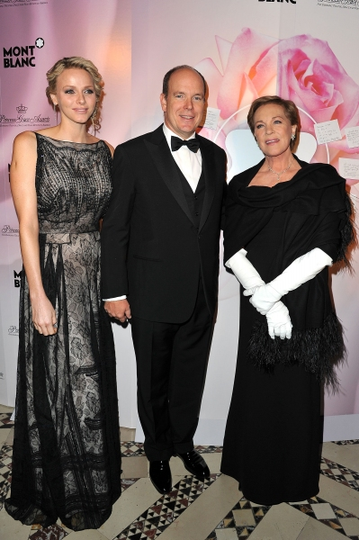 NEW YORK, NY - NOVEMBER 01: Charlene, Princess of Monaco, Albert II, Prince of Monaco, and Julie Andrews attend MONTBLANC Launches Collection Princesse Grace De Monaco at  the Princess Grace Awards Gala at Cipriani 42nd Street on November 1, 2011 in New Y