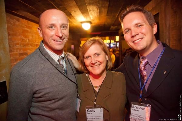 NAMT Member Nick Demos, NAMT Board Member Kathy Evans and NAMT New Works Director Branden Huldeen