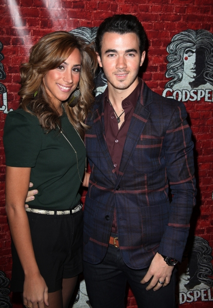 Kevin Jonas & wife Danielle Deleasa arriving for the Opening Night Performance of the Broadway Revival of 'Godspell' at Circle in the Square Theatre in New York City.