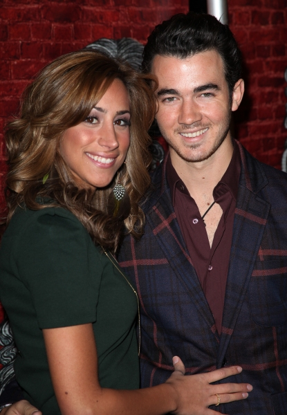 Kevin Jonas & wife Danielle Deleasa  at GODSPELL Opening Night Arrivals