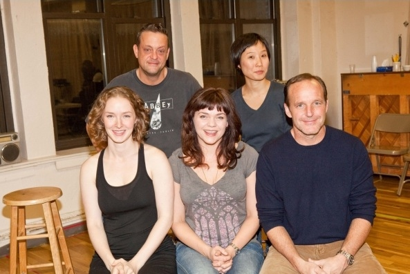 Front: Amanda Quaid, Ana Reeder, Clark Gregg; Back: Lenny Venito, Susan Hyon at Atlantic Theater Company's HAPPY HOUR in Rehearsal!