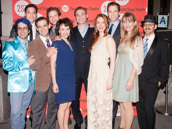 The cast with Will Pomerantz and Chase Brock at Marc Kudisch, Sebastian Arcelus & More Open THE BLUE FLOWER at Second Stage