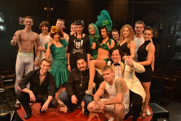 Jude Pfaff and Rachel Federoff with Absinthe cast