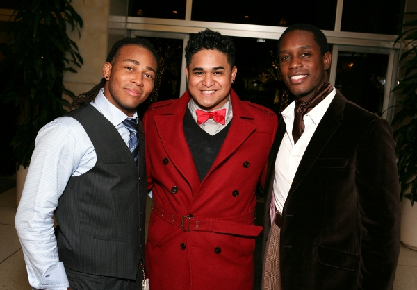 "LOS ANGELES, CA - NOVEMBER 11: (L-R) Cast members Antwan Bethea, Michael Naone-Carter and Rod Harrelson pose during the party for the opening night performance of ""Bring It On: The Musical"" at Center Theatre Group's Ahmanson Theatre on November 11, 2011 i"