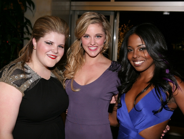 "LOS ANGELES, CA - NOVEMBER 11: (L-R) Cast members Ryan Redmond, Taylor Louderman and Adrienne Warren pose during the party for the opening night performance of ""Bring It On: The Musical"" at Center Theatre Group's Ahmanson Theatre on November 11, 2011 in L"