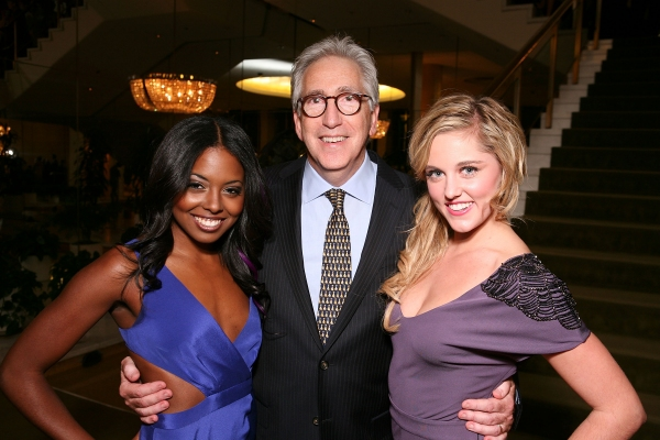 "LOS ANGELES, CA - NOVEMBER 11: (L-R) Cast member Adrienne Warren, Universal's Glenn Ross and cast member Taylor Louderman pose during the party for the opening night performance of ""Bring It On: The Musical"" at Center Theatre Group's Ahmanson Theatre on N"