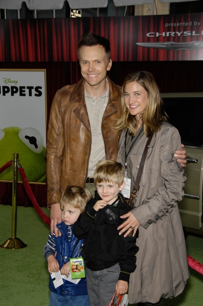 Joel McHale, Sarah Williams, Eddie McHale and Isaac McHale at Premiere of New MUPPETS Movie