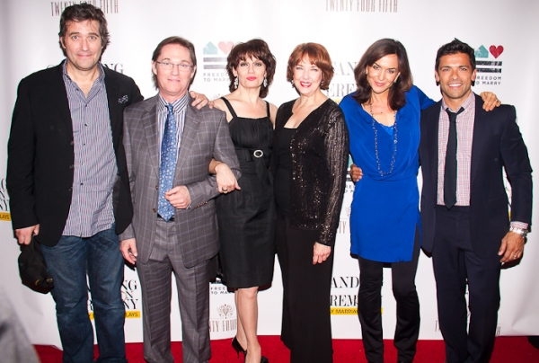 Craig Bierko, Richard Thomas, Beth Leavel, Harriet Harris, Polly Draper, and Mark Consuelos