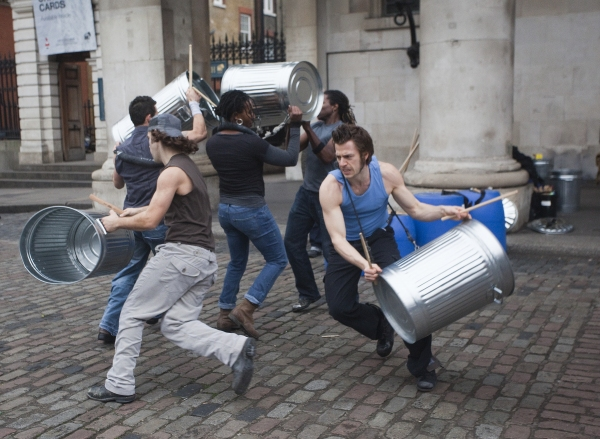 Nov. 14, 2011 - London, England, UK -  London, UK. Hit-musical ''Stomp'', created by Luke Cresswell and Steve McNicholas, celebrates its 20th anniversary with a  public performance by the original UK cast in Covent Garden's Piazza. Photo credit: Bettina S
