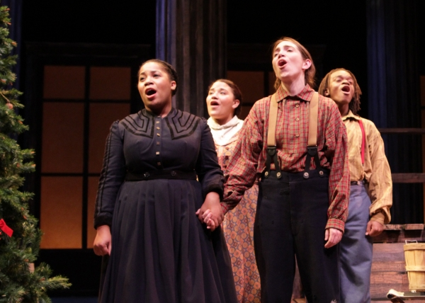 From left to right: Joetta Wright, Alicia Dansby, Jen Rand, and Jackson Hurst hold one last beautiful note in A Civil War Christmas.