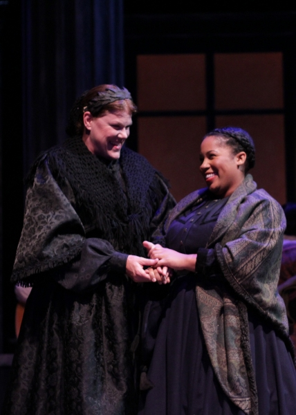 Mary Todd Lincoln (Jan Lee) and her seamstress Mrs. Keckley (Joetta Wright) in A Civil War Christmas.