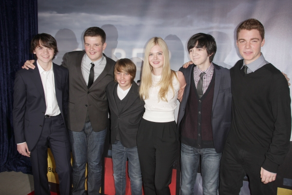 Joel Courtney, Riley Griffiths, Ryan Lee, Elle Fanning, Zach Mills and Gabriel Basso