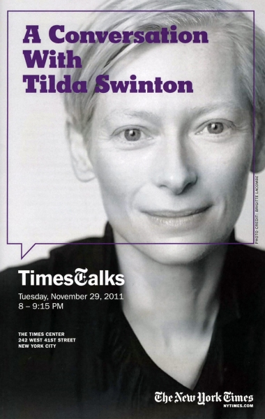 Times Talks with Tilda Swinton interviewed by Melena Ryzik at The Times Center in New York City.