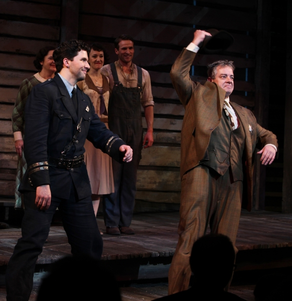 Louis Hobson & Joe Hart  at BONNIE & CLYDE Opening Night Curtain Call