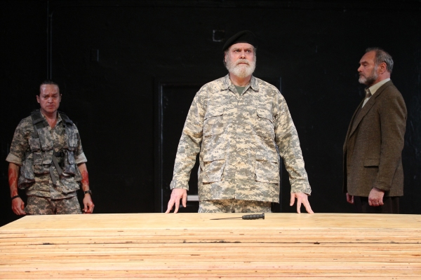 Rob Campbell, Jay O. Sanders, and Sherman Howard in TITUS ANDRONICUS, a Public Lab production directed by Michael Sexton, running November 29 through December 18. Photo credit Joan Marcus. at First Look at Public Theater's TITUS ANDRONICUS