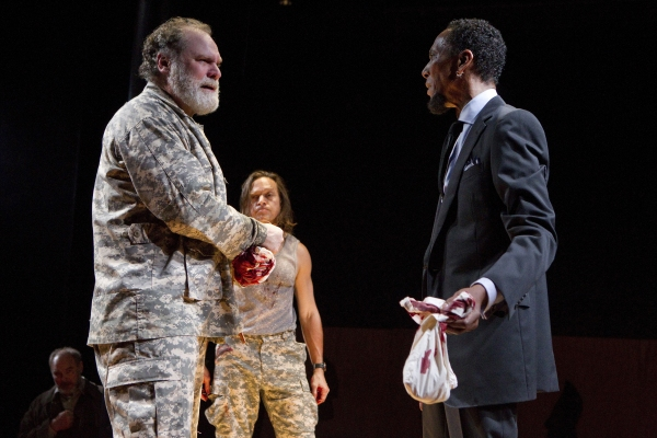 Sherman Howard, Jay O. Sanders, Rob Campbell, and Ron Cephas Jones in TITUS ANDRONICUS, a Public Lab production directed by Michael Sexton, running November 29 through December 18. Photo credit Joan Marcus. at First Look at Public Theater's TITUS ANDRONICUS