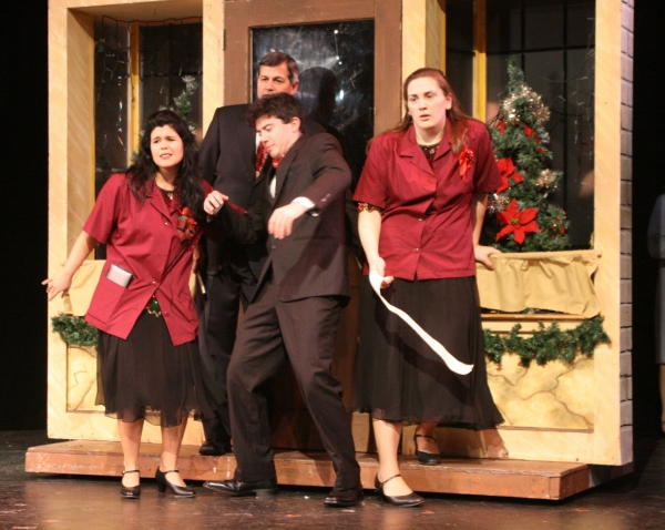 "Greta DiGiorgio, Bob Cincotta, Andrew Potter, and Angela Richardson as the harried store clerks in ""12 Days to Christmas"""