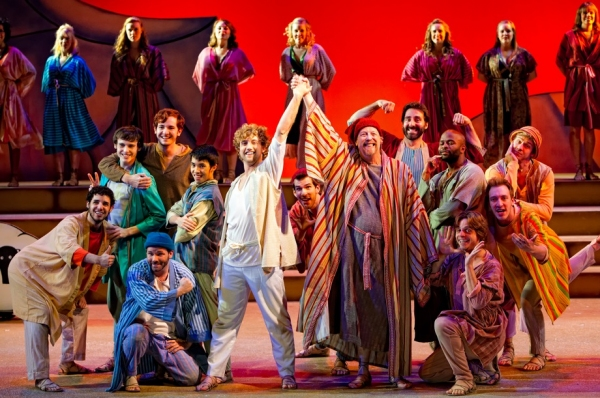 Center, left to right, Matthew Ryan Thompson as Joseph and Tim Tavcar as Jacob with Brothers and Wives in Beck Center's encore production of Joseph and the Amazing Technicolor Dreamcoat on the Mackey Main Stage through December 31, 2011.