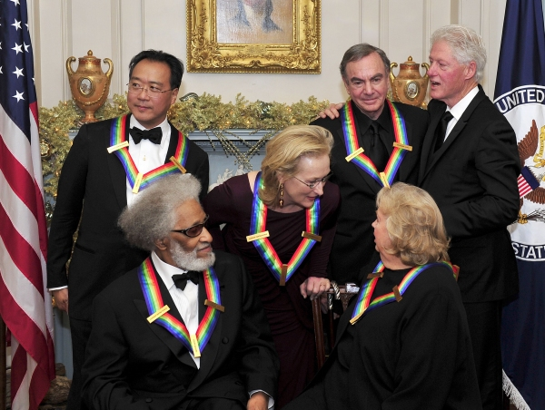 Back row, Yo-Yo Ma, Meryl Streep, Neil Diamond, Bill Clinton. Front row, Sonny Rollins, Barbara Cook at Special Barbara Cook, Meryl Streep, Neil Diamond & More Receive Kennedy Center Honors