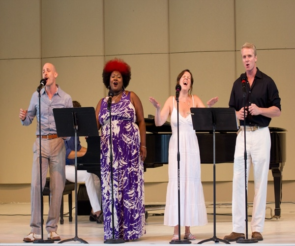 Broadway cast members perform a special Voices Of Broadway concert in Usdan's 1,000-seat McKinley Ampitheater. From left to right: Justin Greer (Anything Goes), Maia Wilson (The Book Of Mormon?), Madeleine Doherty (Sister Act) and Brian O'Brien (Chicago)