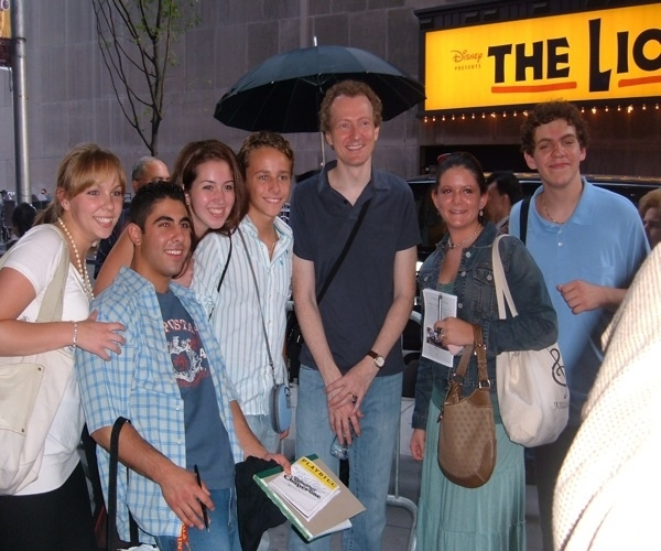 Usdan theater students visited backstage with Bob Martin of The Drowsy Chaperone on Broadway.  Photo by Kerry Discioarro