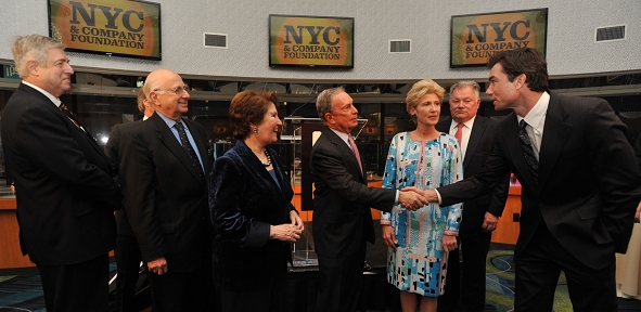 Tim Zagat; NYC & Company CEO George Fertitta; Broadway League Chairman Paul Libin; Nina Zagat; Mayor Michael R. Bloomberg; Metropolitan Museum of Art President and NYC & Company Chairwoman Emily Rafferty; Times Square Alliance Chairman Robert Wankel; and