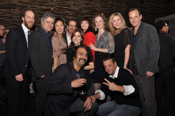 Playwright Ethan Coen and Director Neil Pepe with the ensemble cast of Happy Hour