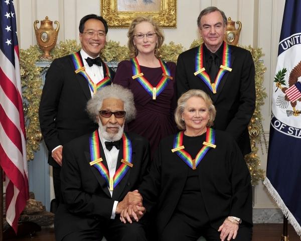 Yo-Yo Ma, Meryl Streep, Neil Diamond. Front row, Sonny Rollins, Barbara Cook. Photo C Photo