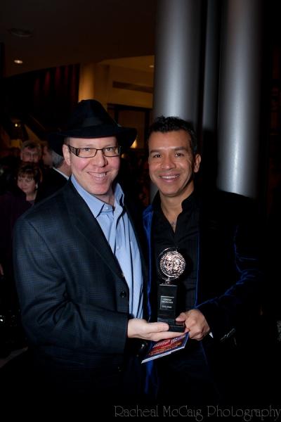 Aubrey Dan and Sergio Trujillo pose with The Tony Award Photo
