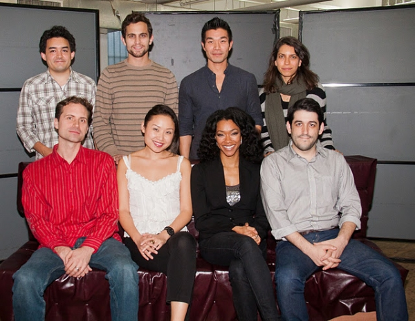 Andy Donald, Matthew Dellapina, Nelson Lee, and Vineyard Theatre Co-Artistic Director Sarah Stern; (front): Zayd Dohrn, Li Jun Li, Sonequa Martin-Green and Evan Cabnet