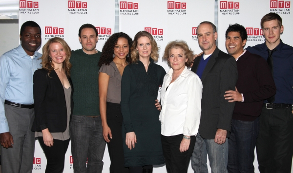 Chike Johnson, Jessica Dickey, Greg Keller, Carra Patterson, Cynthia Nixon, Suzanne Bertish, Michael Countryman, Pun Bandhu, Zachary Spicer at Meet Cynthia Nixon and Company of MTC's WIT