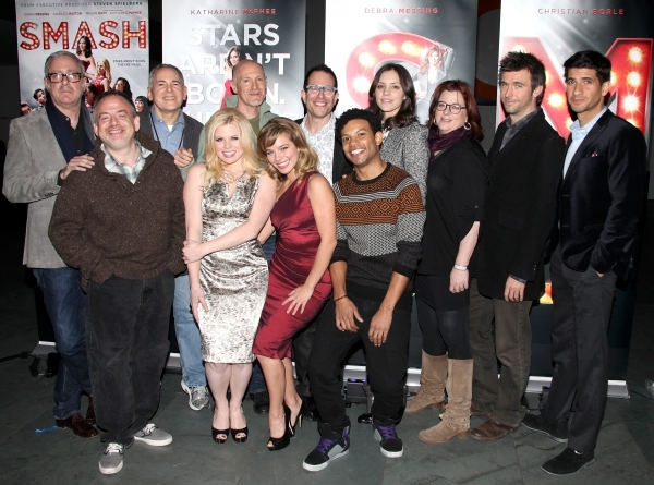 Scott Wittman, Marc Shaiman, Craig Zadan, Neil Meron, Megan Hilty, Savannah Wise, Mic Photo