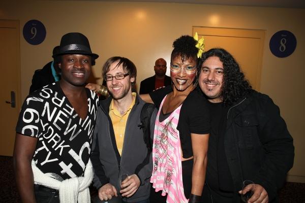 Ismael Kouyate, band member Mike McGinnis, cast member Oneika Phillips and band member Bryan Vargas