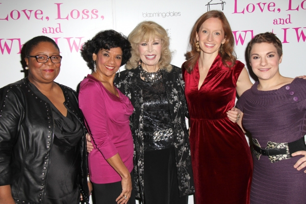 Myra Lucretia Taylor, Sonia Manzano, Loretta Swit, Emiliy Dorsch, Daisy Eagan at LOVE, LOSS AND WHAT I WORE Celebrates 900 Performances Off-Broadway