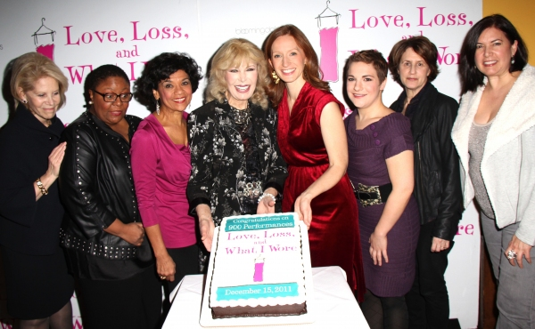 Daryl Roth, Myra Lucretia Taylor, Sonia Manzano, Loretta Swit, Emiliy Dorsch, Daisy Eagan, Delia Ephron and Dire  at LOVE, LOSS AND WHAT I WORE Celebrates 900 Performances Off-Broadway
