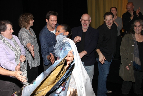 Kearran Giovanni (Gypsy Robe Recipient) with Hugh Jackman, Bill Noble & Tad Wilson ('Bonnie & Clyde' Recepient)  at Inside HUGH JACKMAN, BACK ON BROADWAY's Gypsy Robe Ceremony!