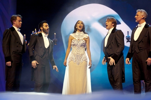Simon Bowman, Earl Carpenter, Ramin Karimloo and John Owen-Jones with Nicole Scherzinger.  Photo Credit: Ken McKay/ITV/Rex / Rex USA
