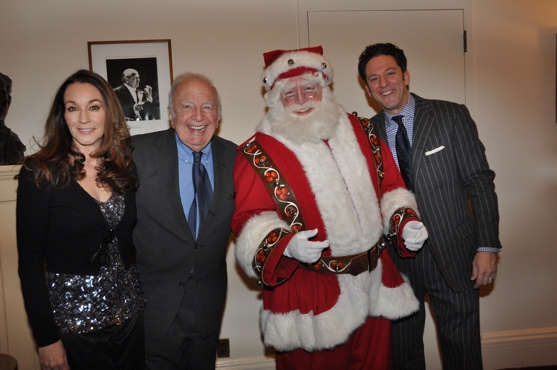 Jessica Molaskey, Bucky Pizzarelli, Santa Claus and John Pizzarelli at John Pizzarelli and Jessica Molaskey Wish You A Swingin' Christmas With The New York Pops