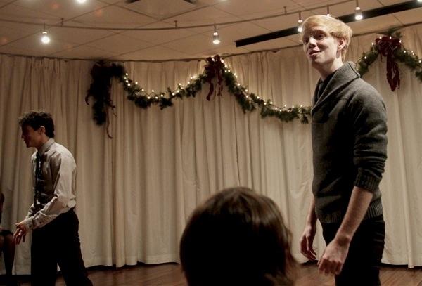 "Zachary Infante and Spencer Kiely sing ""Happy Holiday."" Photo"