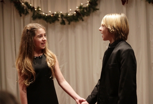 """Scarlett Diaz (Shrek) and Josh Caggiano (Les Miserables) sing """"When Christmas Comes to Town."""""""
