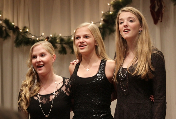 """Jeorgi Smith, Nadine Jacobson (Whistle Down the Wind) and Devynn Pedell (Mary Poppins) sing """"Have Yourself a Merry Little Christmas."""""""
