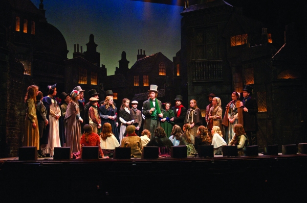Michael Brahce and the cast of A Christmas Carol