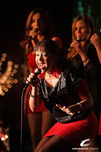 Diana DeGarmo, Cristina Ballestero and Sheila Karls at Upright Cabaret's A Broadway Christmas